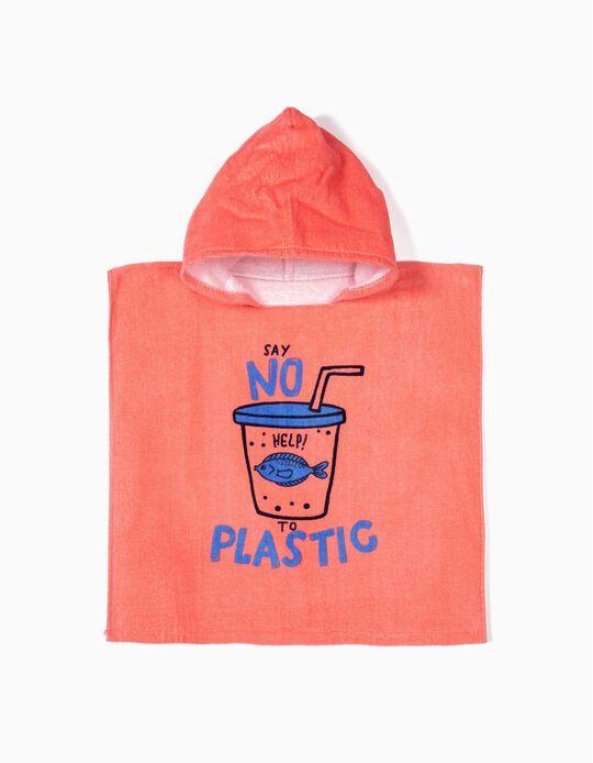 Poncho de Praia para Bebé Menino 'Say No To Plastic', Coral