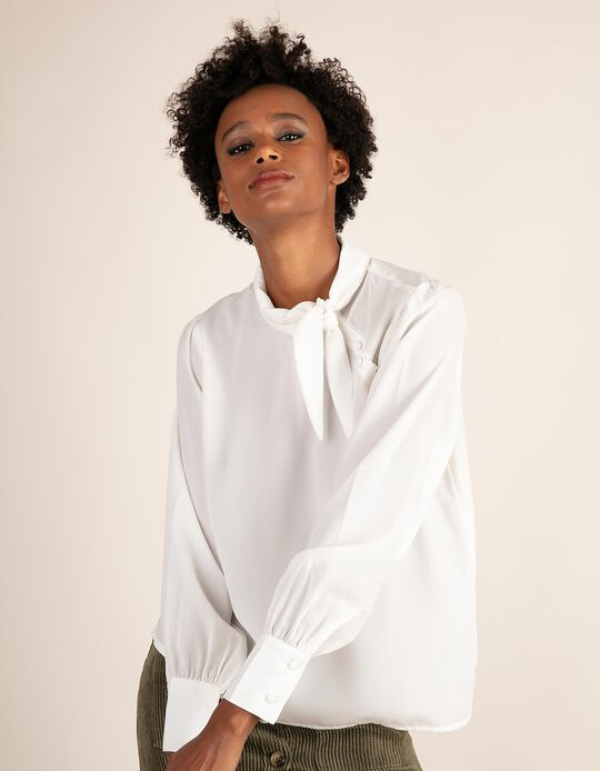 Plain blouse with tie neck