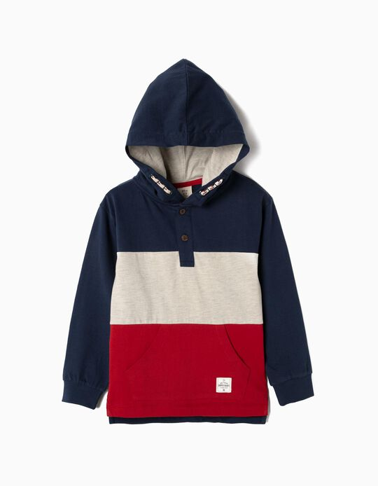 Hooded Henley Sweatshirt for Boys, Blue