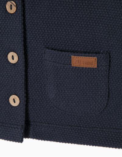 Casaco de Felpa Azul com Cotoveleiras