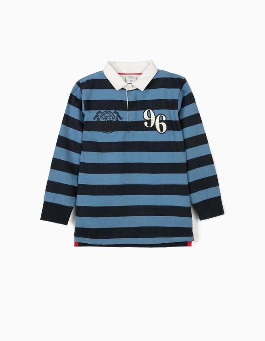 Striped Polo Shirt for Boys, '96', Blue