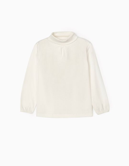 Long Sleeve T-Shirt with Turtleneck for Girls, White