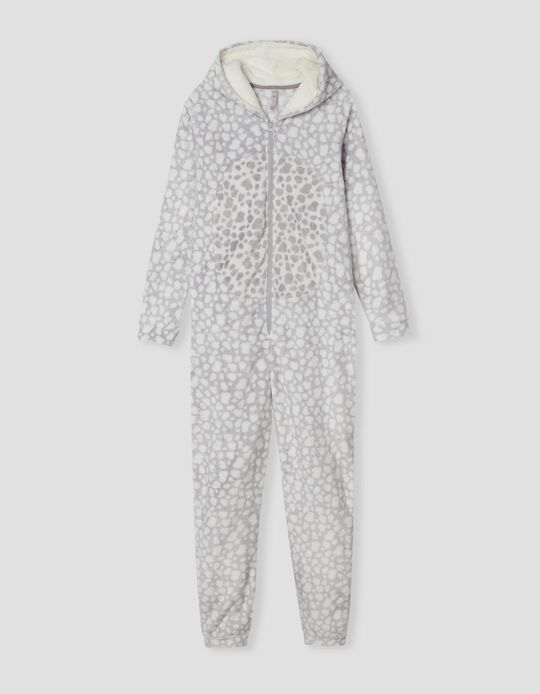 Pijama-macacão, Mulher, Branco/ Cinza