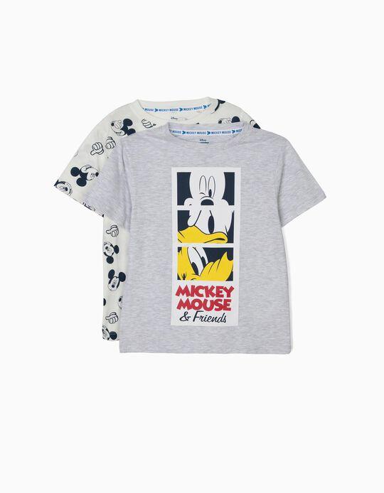 2 T-shirts para Menino 'Mickey & Friends', Branco e Cinza