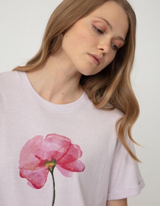 T-shirt with Print for Women, Lilac