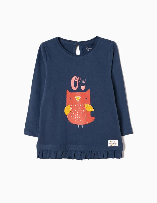 T-shirt Manga Comprida Estampada Owl