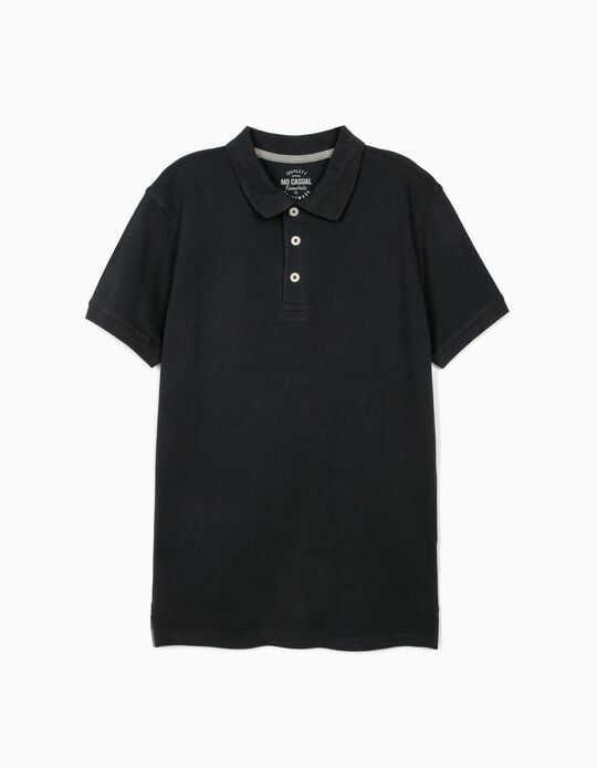 Piqué Polo Shirt, Dark Blue