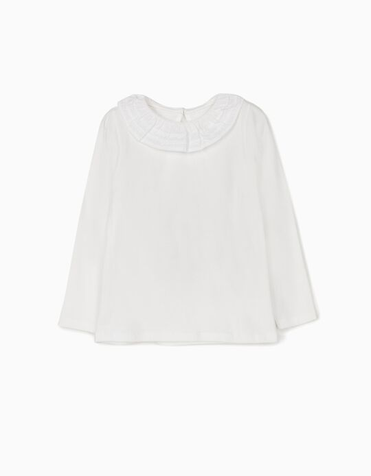 Long Sleeve Top with Ruffle for Girls, White
