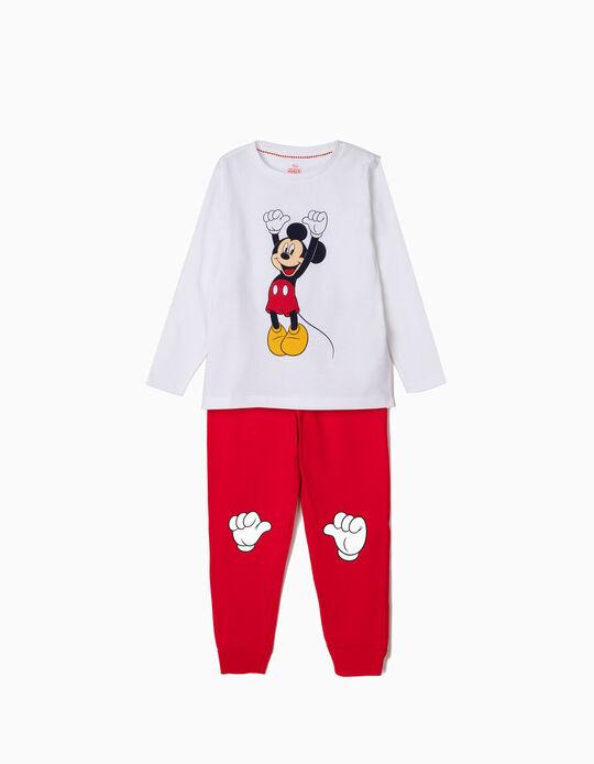 Pijama para Menino 'Mickey', Branco e Vermelho