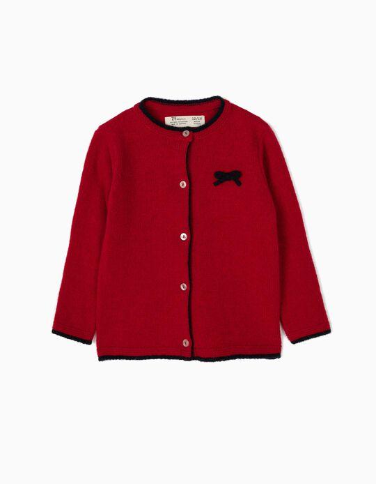 Dark Red Woollen Cardigan