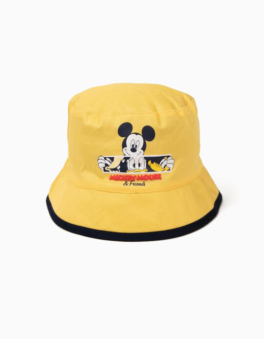 Reversible Hat for Baby Boys 'Mickey & Friends', Yellow and Grey