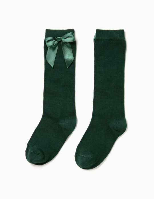 Knee-High Socks with Bow for Girls, Green