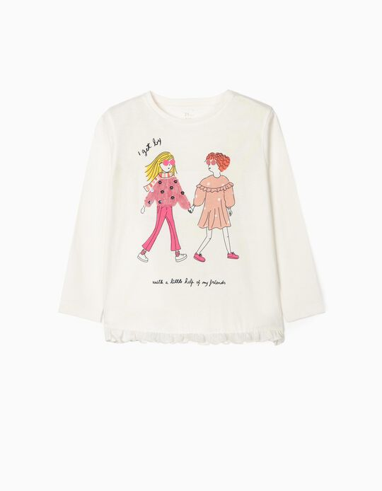 Long Sleeve Top for Girls, 'Friends', White