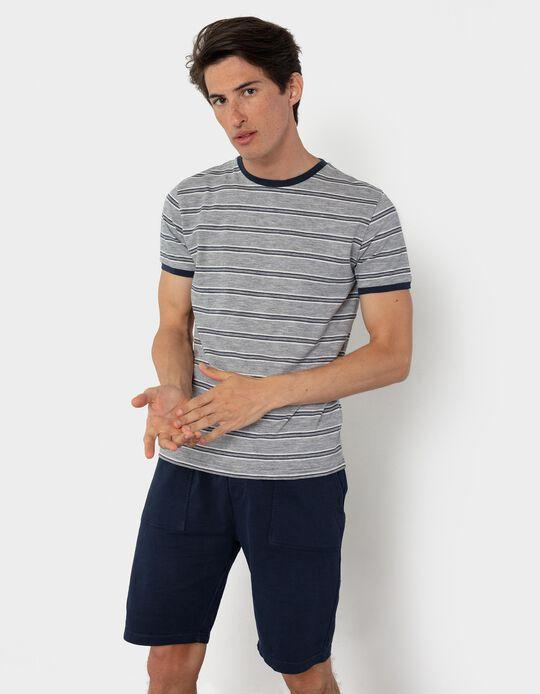Cotton T-shirt, Stripes, for Men