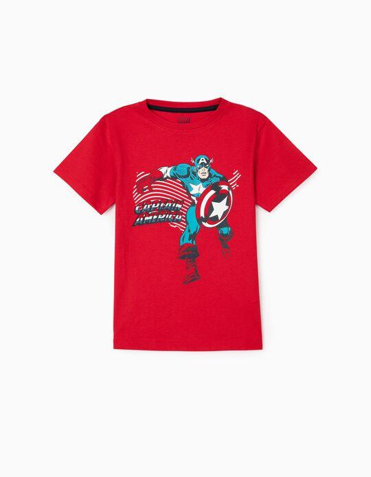 T-Shirt para Menino 'Captain America', Vermelho