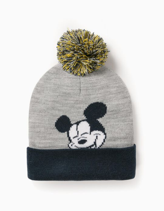 Knit Beanie for Boys 'Mickey', Grey/Dark Blue