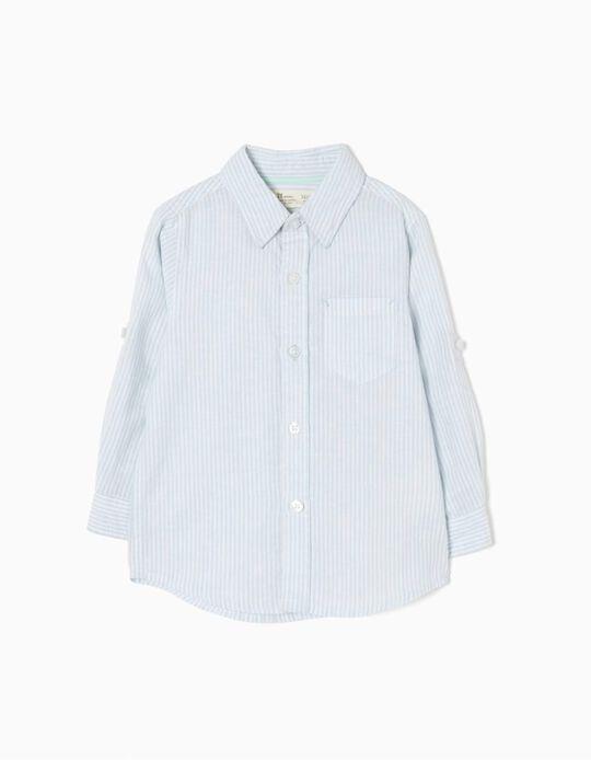 Camisa de Linho Riscas Azuis