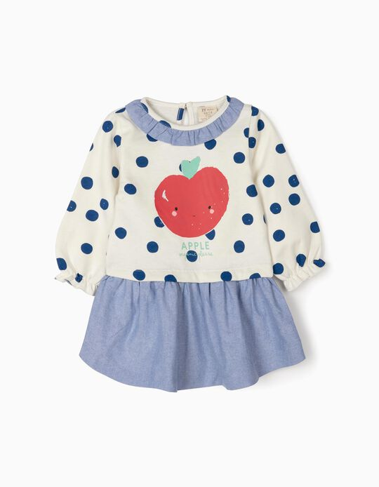 Combined Dress for Baby Girls 'Apple', White/Blue