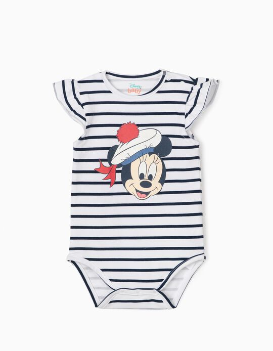 Striped Bodysuit for Newborn Baby Girls, 'Sailor Minnie Mouse', White/Blue