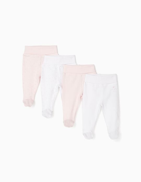 4 Pairs of Footed Trousers for Newborn Baby Girls, Pink/White