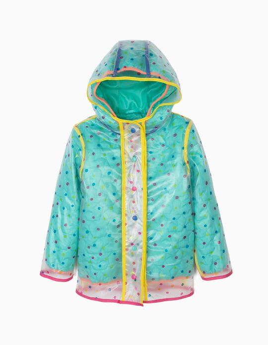 3-in-1 Rain Jacket for Girls, Transparent and Green