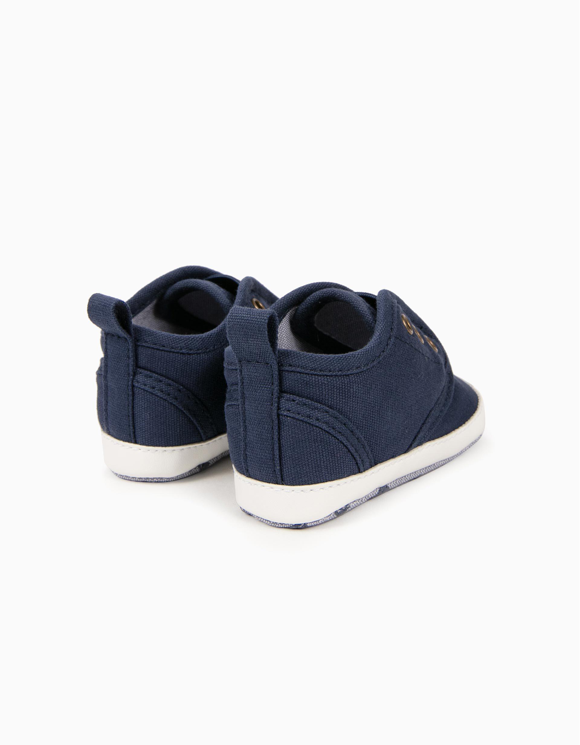 Sapatilhas de Lona para Recém Nascido, Azul Escuro