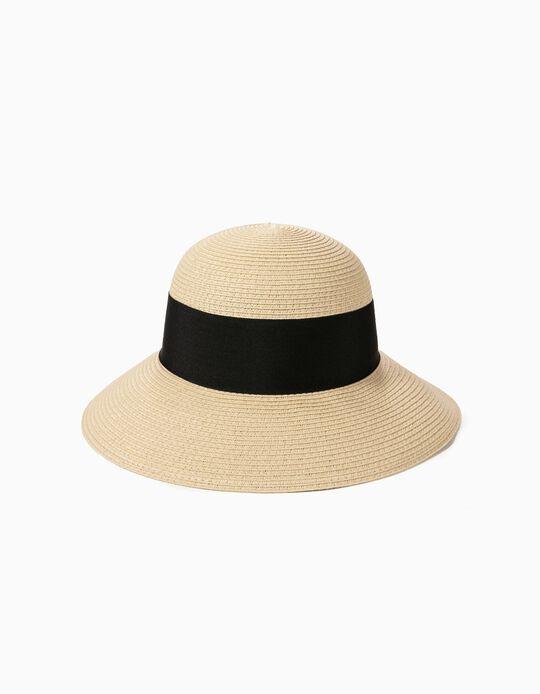 Chapéu de palha com laço