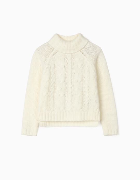 Thick Knit Sweater for Girls, White