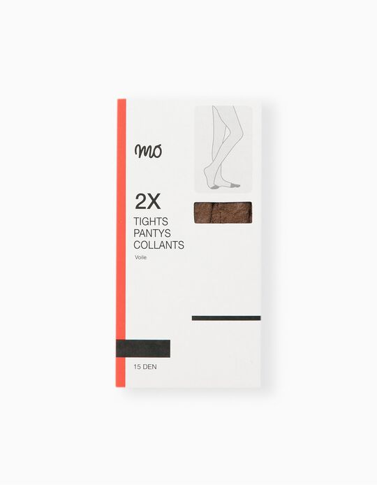 Pack of 2 Tights, 15 Den