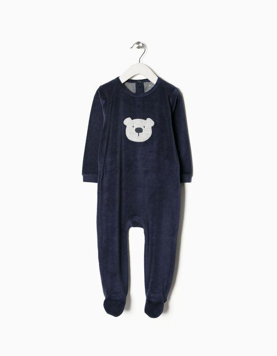 Babygrow Veludo Ursinho Azul Escuro