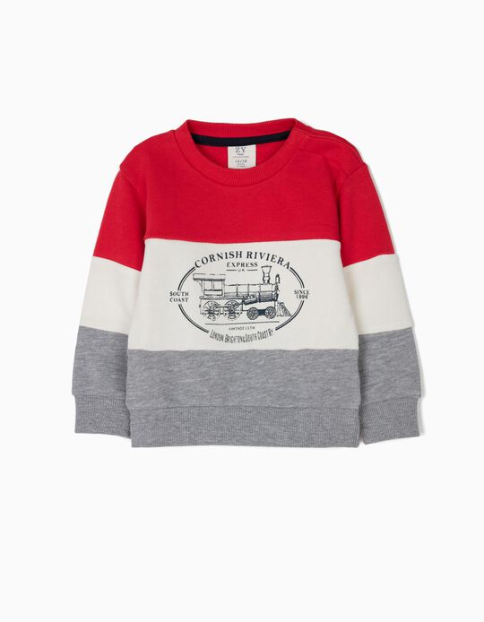 Sweatshirt para Bebé Menino 'Vintage Train', Tricolor