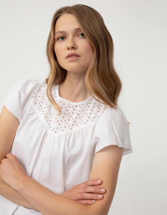Embroidered Blouse for Women, White