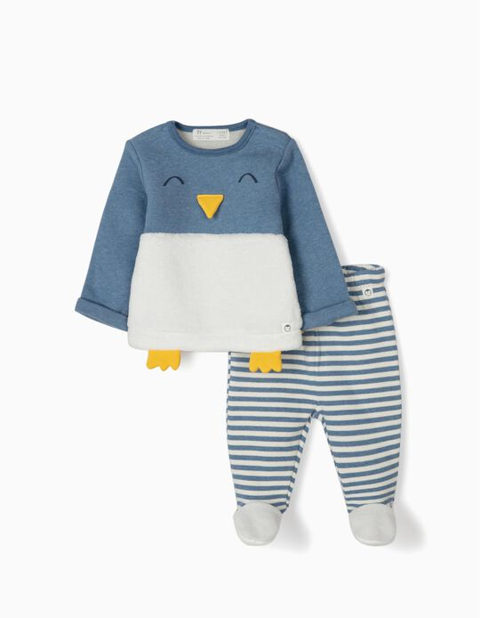 Tracksuit for Newborn Boys 'Cute Penguin', Blue/White