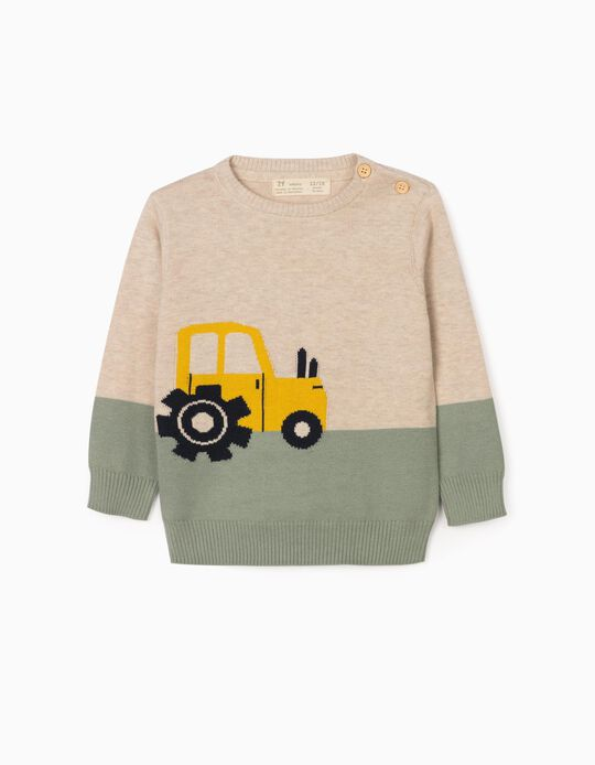 Jumper for Baby Boys, 'Tractor', Beige/Green