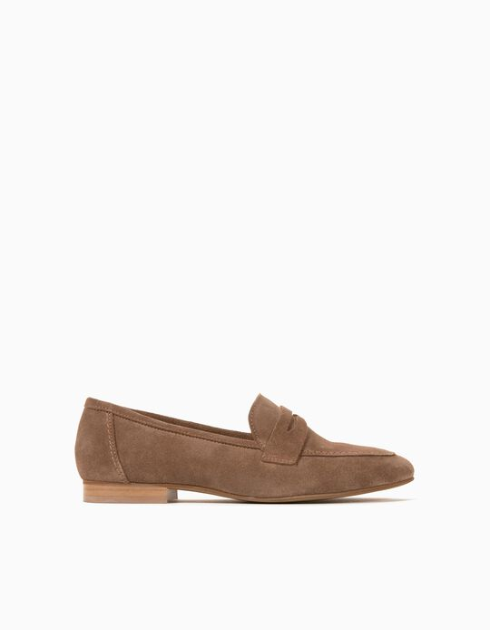 Leather Moccasins for Women, Made in Portugal, Beige