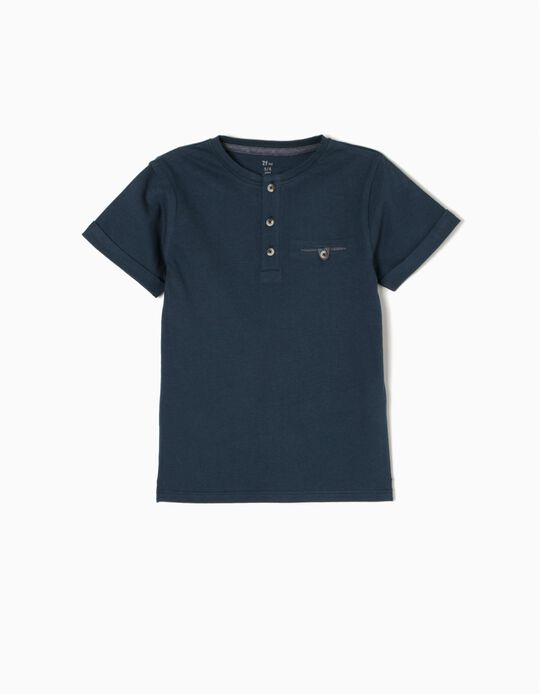 Blue T-Shirt with Buttons