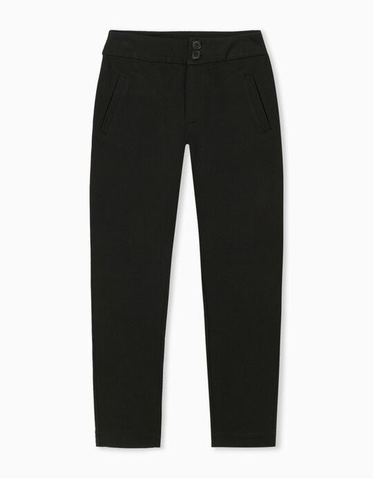 Black High Waist Trousers, for Women