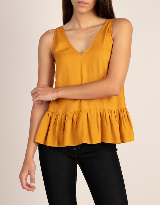 Low-neck top with straps and frill