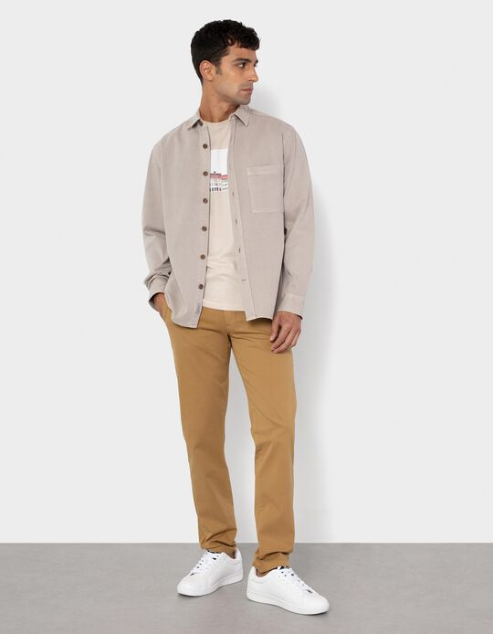 Twill Trousers, Elasticated Waistband, Beige