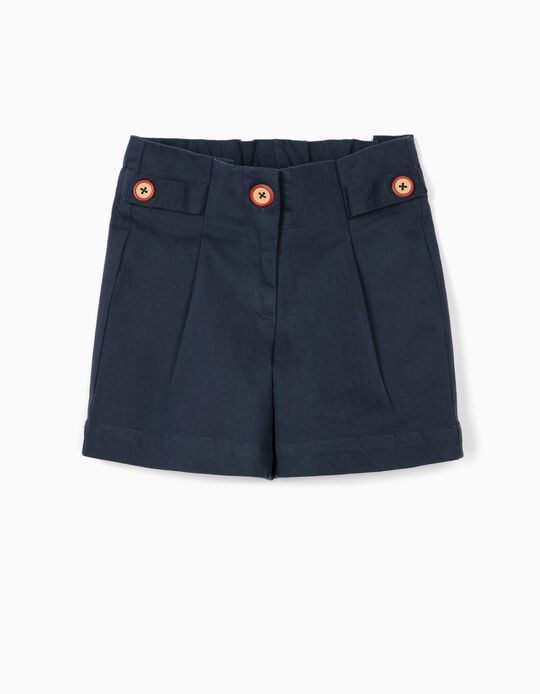 Pleated Shorts for Girls, Dark Blue