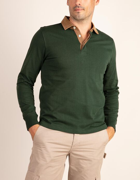 Polo shirt with corduroy collar