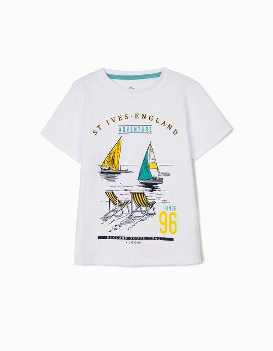 T-shirt para Menino 'England South Coast', Branco