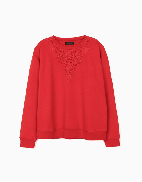 Sweatshirt with Lace Neckline