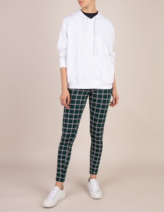 Chequered Jersey Knit Trousers