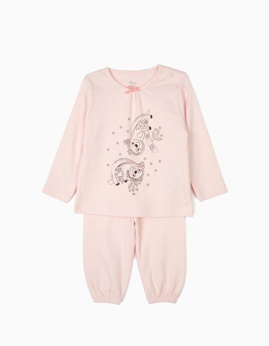 Pijama para Bebé Menina 'Flower Sloth', Rosa