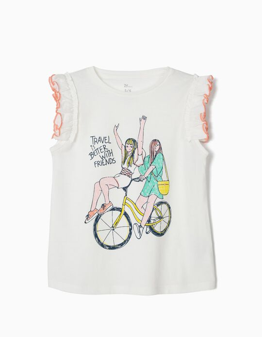 Travel with Friends' T-Shirt for Girls, White