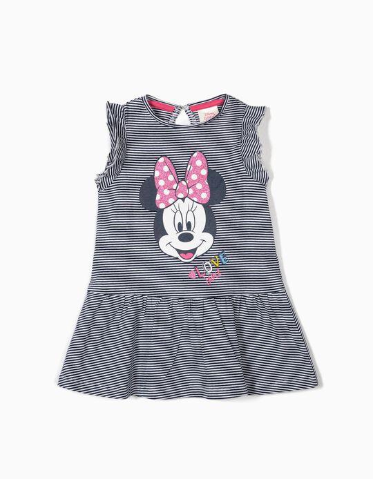 Vestido para Bebé Menina 'Minnie' Riscas, Azul