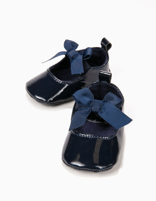 Patent Ballerinas for Newborn Girls with Bow, Dark Blue