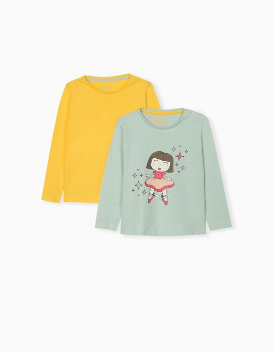 2 Long Sleeve Tops for Baby Girls, Yellow/Green