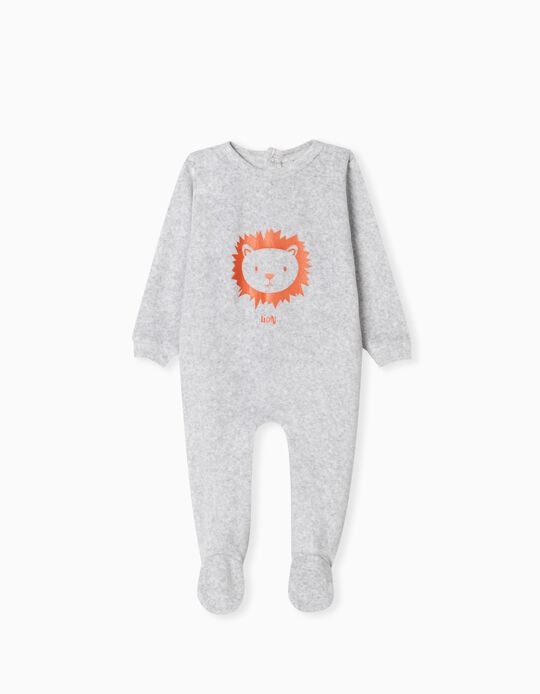 Velour Sleepsuit, Babies, Grey